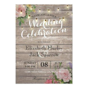 Small Rustic Wedding Invitations Floral Wood String Light Front View