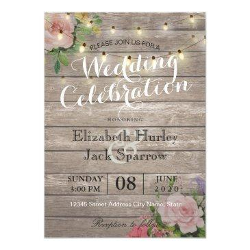 rustic wedding  floral wood string light