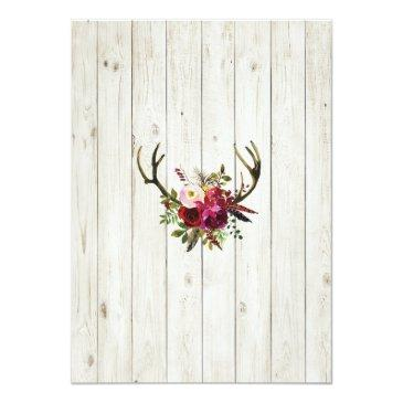 Small Rustic Wedding  Antlers Floral Stag Back View