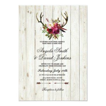 rustic wedding invitation antlers floral stag