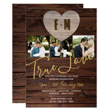 rustic wedding invitation photo monogram elegant