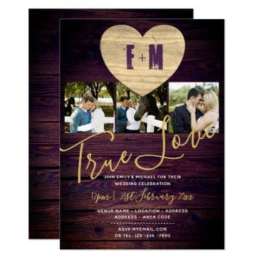 rustic wedding invites photo monogram purple gold