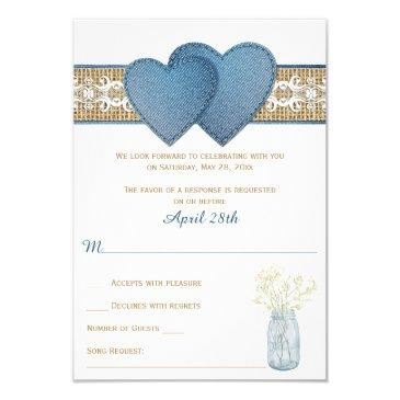 rustic wedding rsvp invitation | denim, lace, burlap