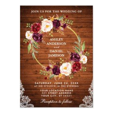 rustic wedding wood floral wreath lace invite