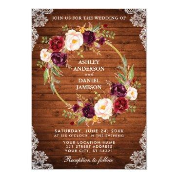 rustic wedding wood floral wreath lace invite br