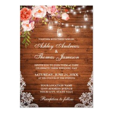 Small Rustic Wedding Wood Lights Jars Lace Coral Floral Invitation Front View