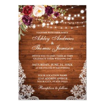 Small Rustic Wedding Wood Lights Lace Floral Invite Front View