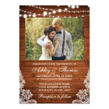 Small Rustic Wedding Wood Lights Lace Photo Front View