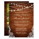 rustic wedding wood string lights lace invite pb
