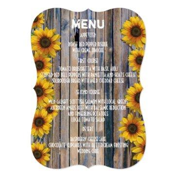 Small Rustic Western Cowboy Country Wedding Menu Invitationss Back View