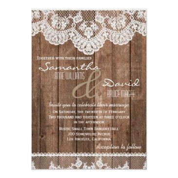 Small Rustic White Lace And Wood Wedding Invitations Front View