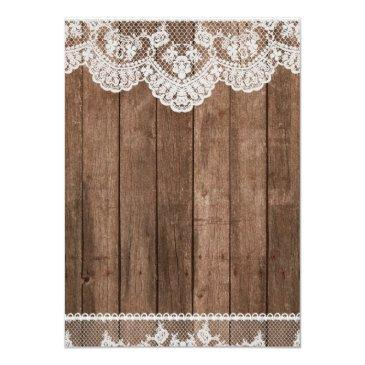 Small Rustic White Lace And Wood Wedding Invitations Back View