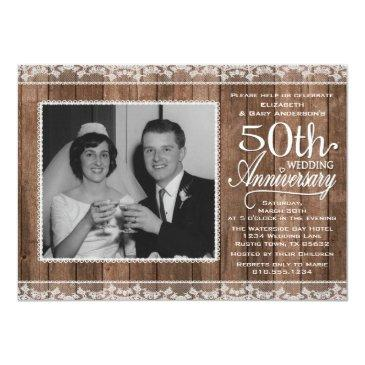 Small Rustic White Lace & Wood 50th Wedding Anniversary Invitation Front View
