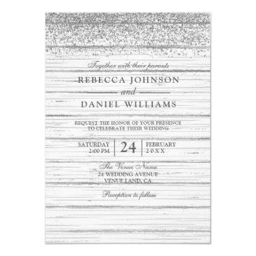 rustic white wood silver glitter wedding invite