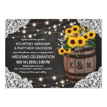 Small Rustic Winery Wedding Invitation   String Lights Front View