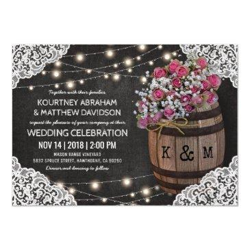 rustic winery wedding invitation | string lights