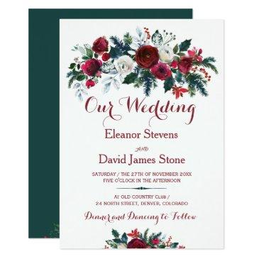 rustic winter burgundy pine green floral wedding invitations