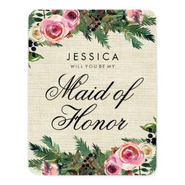 rustic winter burlap will you be my maid of honor