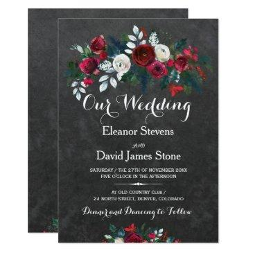 rustic winter chalkboard burgundy floral wedding invitations