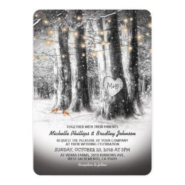 Small Rustic Winter Tree & String Lights Wedding Invitationss Front View