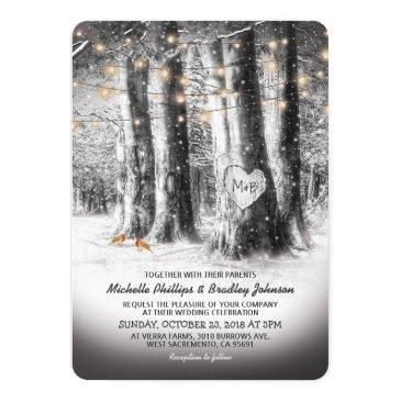rustic winter tree & string lights wedding invitations