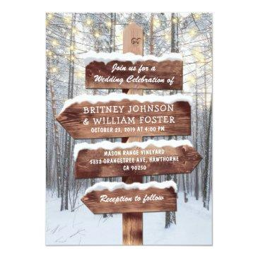 rustic winter wonderland woodland lights wedding invitations