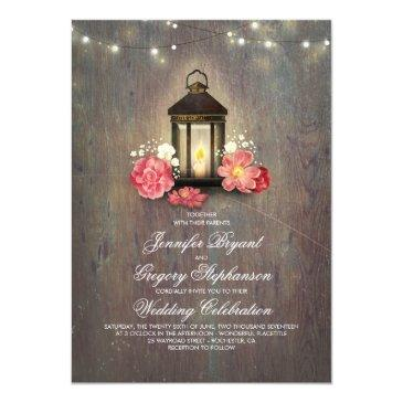 rustic wood and floral lantern lights fall wedding invitations