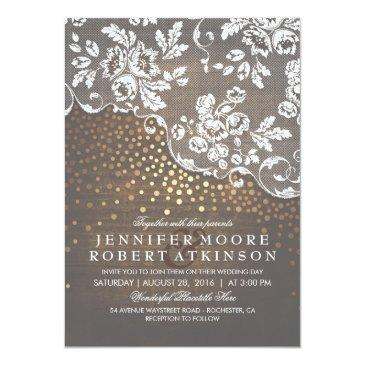 rustic wood and lace gold confetti elegant wedding invitations