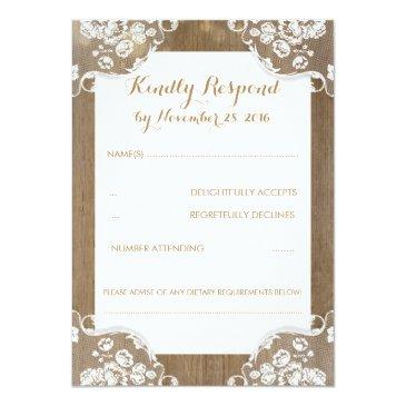 Small Rustic Wood And Lace Wedding Rsvp Front View