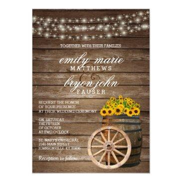 Small Rustic Wood Barrel And Sunflower Wedding Front View
