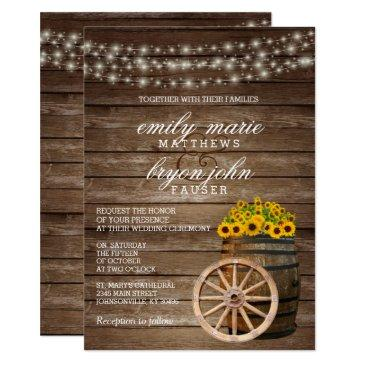 rustic wood barrel and sunflower wedding invitation