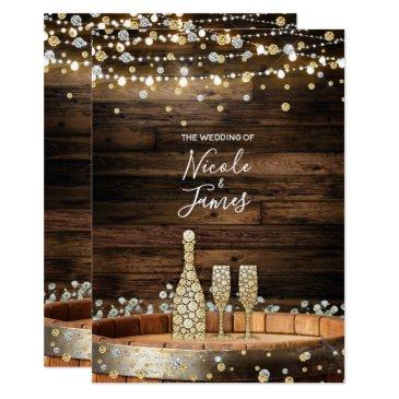 rustic wood barrel lights champagne modern wedding invitation