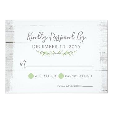 Small Rustic Wood Botanical Leaf Wedding  Rsvp Front View