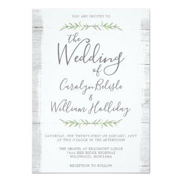 Small Rustic Wood & Botanical Leaves Wedding Invitations Front View