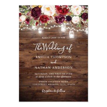 Small Rustic Wood Burgundy Floral Lights Wedding Invitation Front View