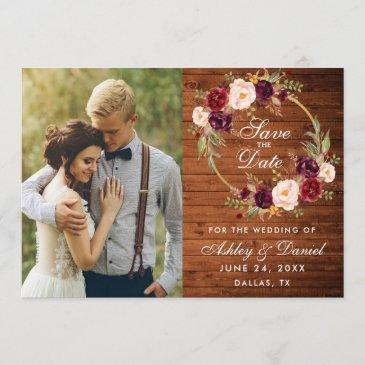 rustic wood burgundy floral wreath save the date