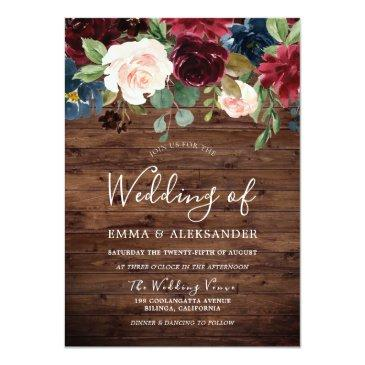 Small Rustic Wood Burgundy Red Wine Wedding Invite Front View