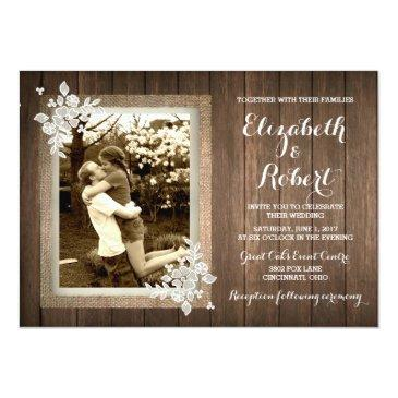 Small Rustic Wood Burlap Lace Photo Wedding Invitations Front View