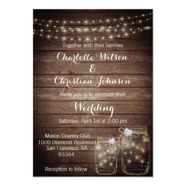 Small Rustic Wood Countr Mason Lights Wedding Invitations Front View