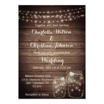 rustic wood country mason lights wedding invites