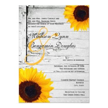 rustic wood country sunflower wedding