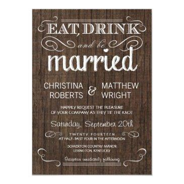rustic wood country wedding invitation