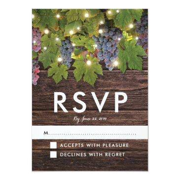 Small Rustic Wood Country Winery Lights Wedding Rsvp Invitationss Front View