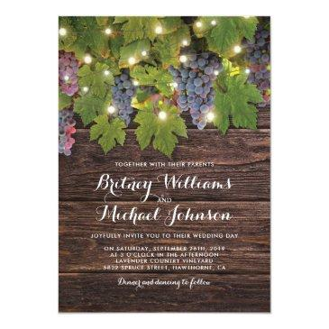 Small Rustic Wood Country Winery Twinkle Lights Wedding Invitationss Front View
