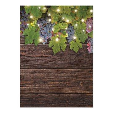 Small Rustic Wood Country Winery Twinkle Lights Wedding Invitationss Back View