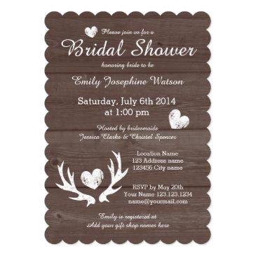 Small Rustic Wood Deer Antler Bridal Shower Invitationss Front View