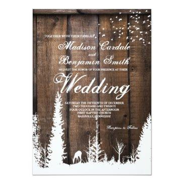rustic wood deer pine tree wedding invitation