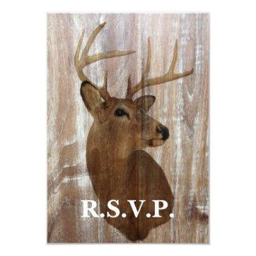 rustic wood grain deer hunt is over wedding rsvp
