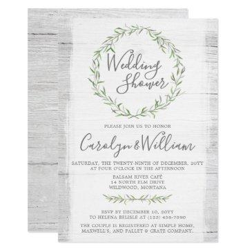 rustic wood green wreath wedding shower invitations