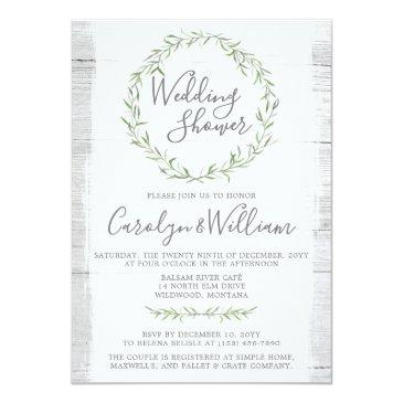 Small Rustic Wood Green Wreath Wedding Shower Front View